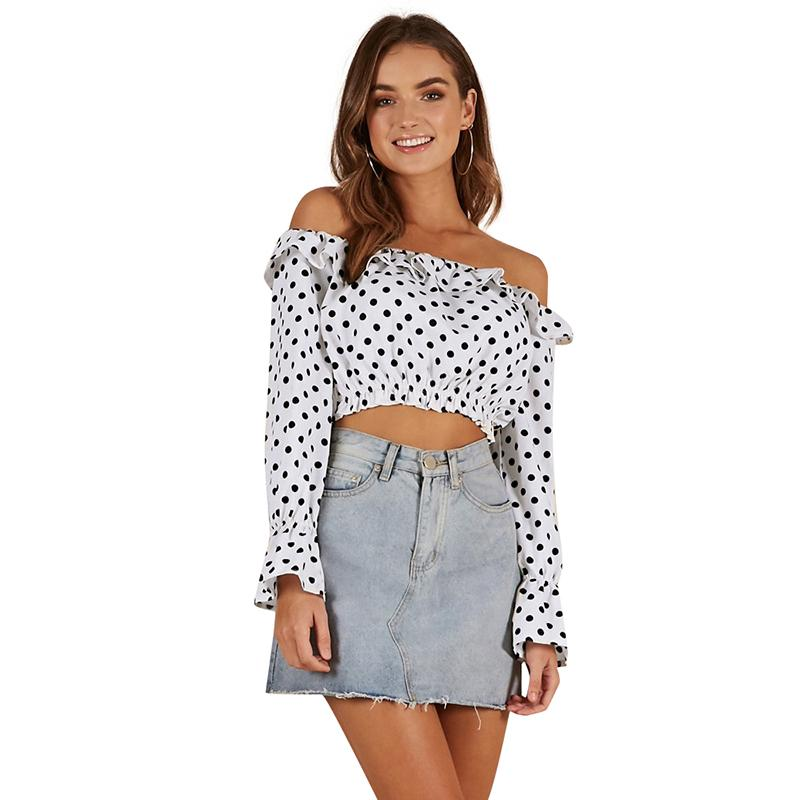 b8beaf71e2d8b Women Off the Shoulder Cropped Top Feminino Polka Dots Print Long Sleeves  Shirt Ruffles Slash Neck Casual Chiffon Blouse Tops Online with  37.5 Piece  on ...