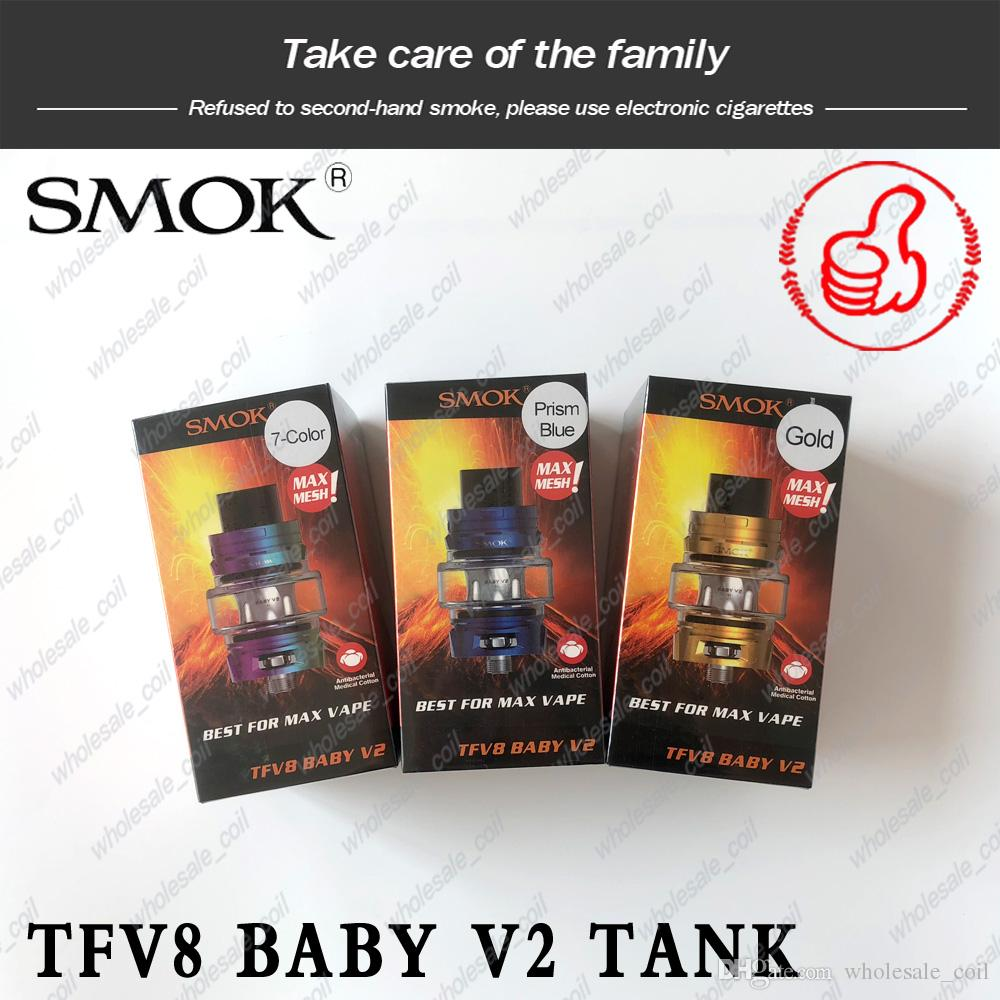 Authentic SMOK TFV8 Baby V2 Tank 5ml Bulb Pyrex Glass Atomizer With A1 A2 Dual Mesh Coil For 510 Thread Mod Authentic Smoktech