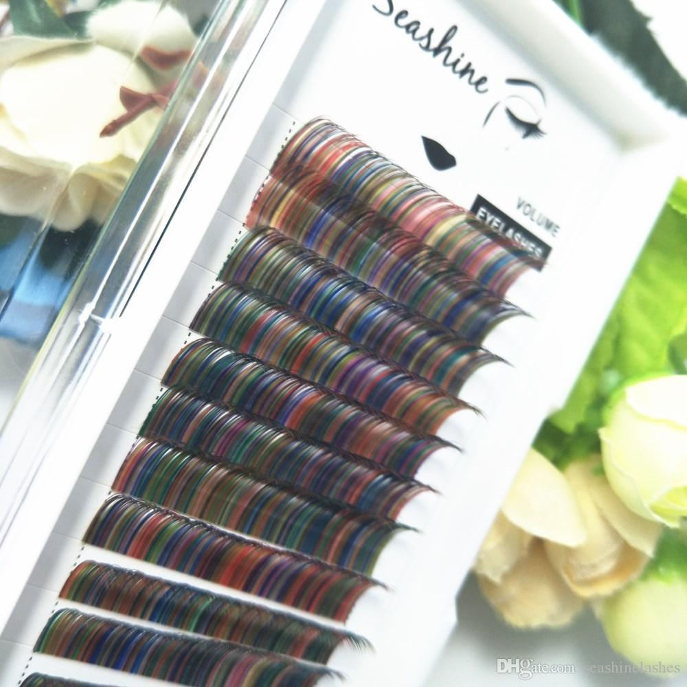 Seashine 12lines/tray Rainbow color eyelash mix colored lashes Faux mink individual eyelash extensions volume eyelashes