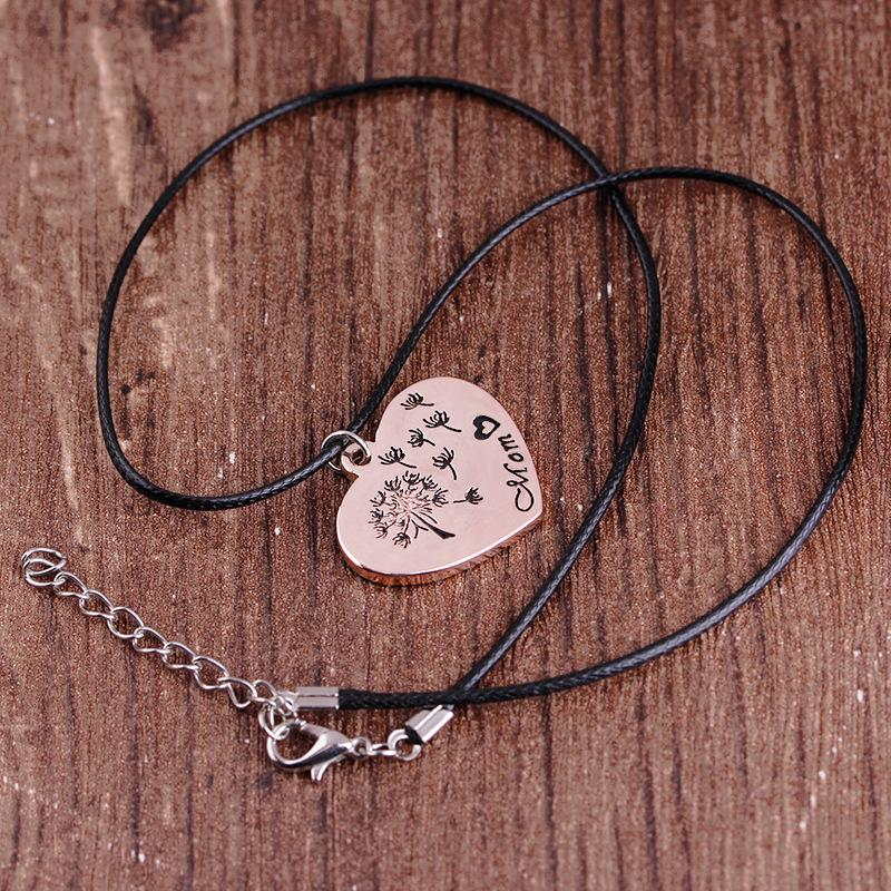 Mom Dandelion Heart Necklaces & Pendants Love Necklace Rose Gold Leather Chain Fashion Jewelry For Mother's Day Gift