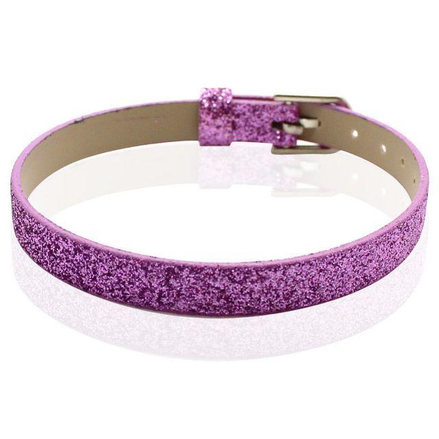 10 unids 8 mm * 210 mm Shine patrón decorado PU pulseras de cuero accesorios de bricolaje encajan 8 mm encantos de diapositivas perlas de diapositivas letras