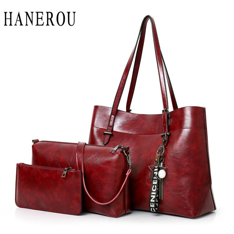 8ab142bc6a6 HANEROU Luxury Handbags Women Bags Designer Female Composite Oil Wax Pu  Leather Ladies Shoulder Hand Bag High Quality Handbags Brands Hobo Handbags  From ...