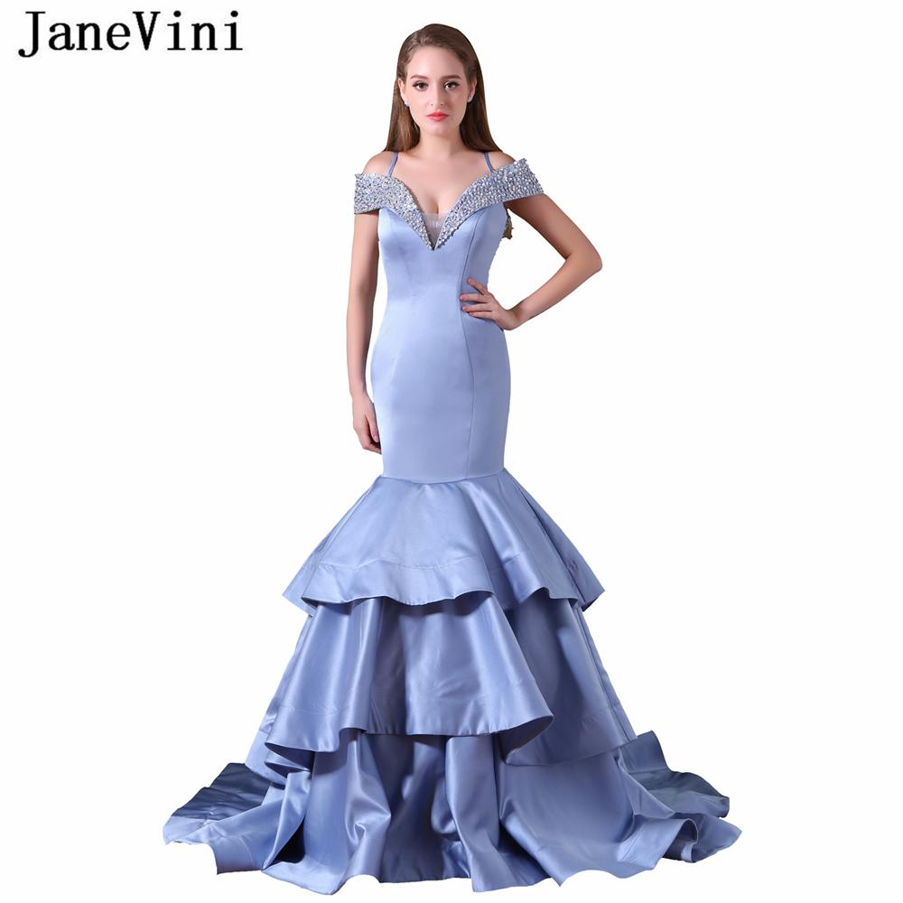 7fd9b34ca33 Wholesale Sexy Long Bridesmaid Dresses Mermaid Tiered Satin V Neck Beaded  Sequined Sheer Back Sweep Train Women Prom Party Gowns Monique Lhuillier ...