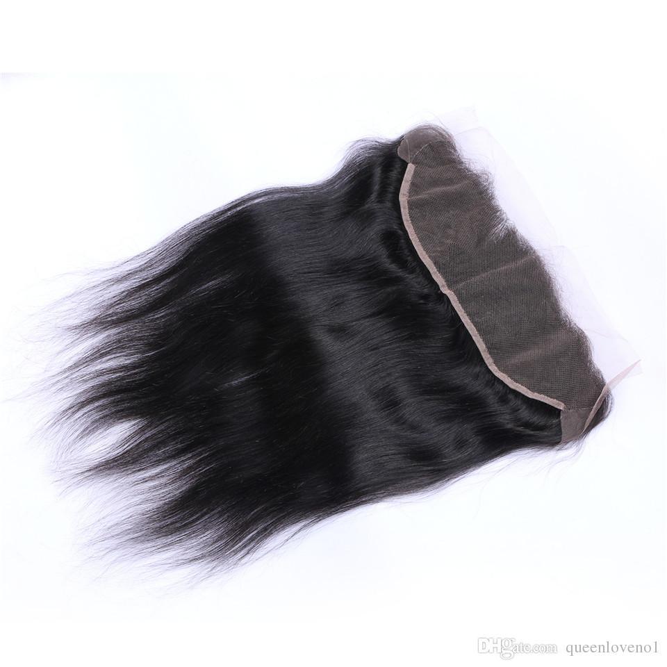Hetero Virgens cabelo humano tece 3Bundles brasileiros com Renda frontal 13x4 orelha a orelha Lace frontal duplo tramas Cabelo Natural Preto