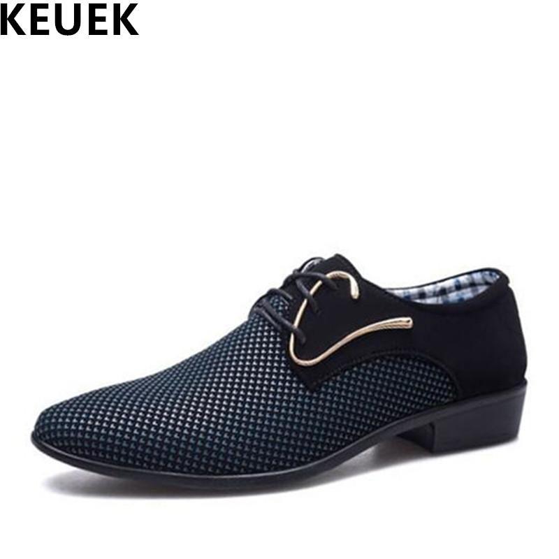 Acheter Grande Taille Mode Hommes Chaussures Oxford Lacets Bout Pointu  Chaussures En Cuir Décontractées Printemps Automne Respirant Hommes  Appartements ... 14df6ca9d45