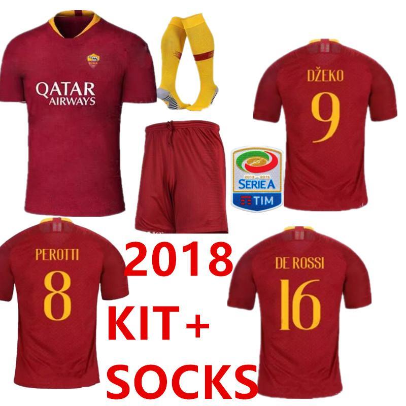 3ee97d72f51 2019 Roma SOCCER Jerseys 2018 19 Adult KIT With Socks Pastore DE ROSSI 18 19  Kit DZEKO EL Shaarawy Football Soccer Jerseys SET From Woaiwojiayisheng