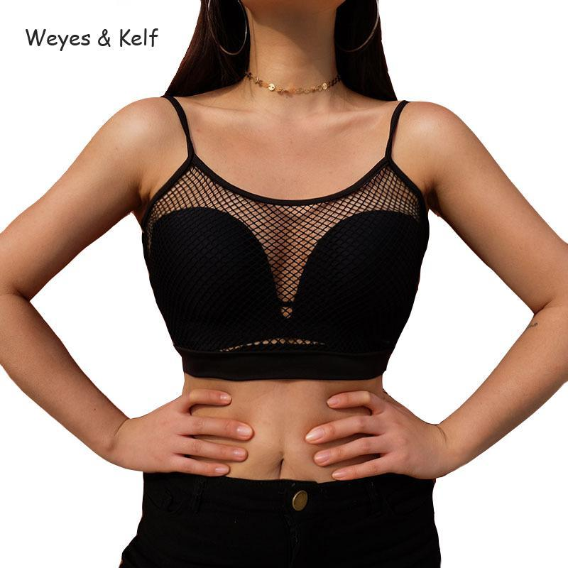 a2e557a3199 Weyes   Kelf Sexy Mesh Crop Top Women For Summer 2018 Spring Vest Hollow  Out Blusa Cropped Black Top Blusa Sexy Tank Women Mujer Tank Tops Cheap Tank  Tops ...