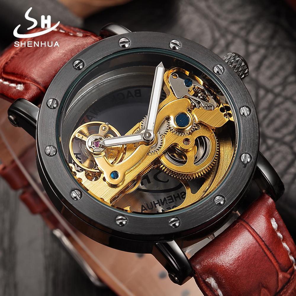 b8997013011 Compre Transparente Oco Relógios Mecânicos Top Marca De Luxo Automático  Preto Relógio Masculino Relógio Esqueleto De Couro Dos Homens Relógios De  Pulso ...