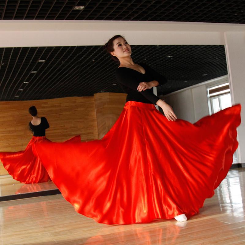 d0ef172aab Compre Falda De Flamenco De Estilo Largo Para Mujer Traje De Trajes De Baile  En El Escenario Para Danza Del Vientre Rendimiento 360 720 Grado Falda  DL2877 A ...