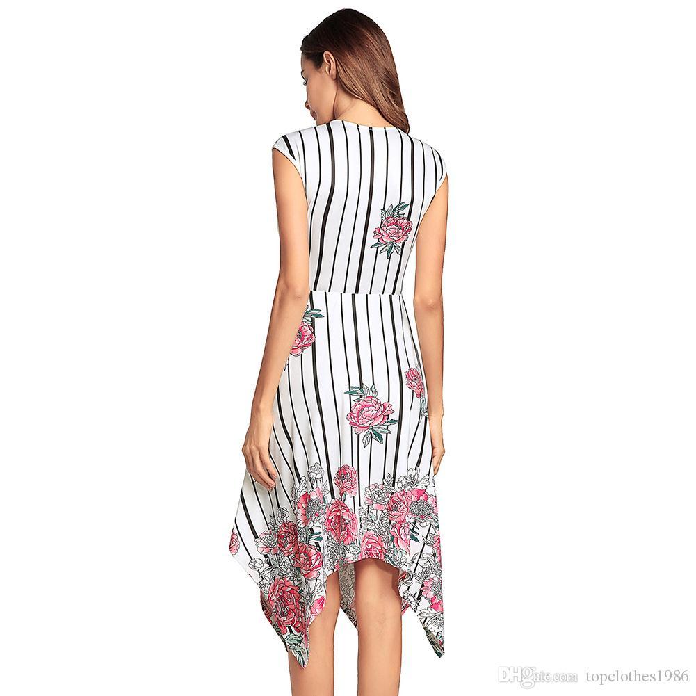 2018New tarzı Yaz 'ın kadın Moda Baskı Elbise V Yaka Çiçekler Baskı Seksi elbise Parti Elbise Boyut S M L XL 2XL
