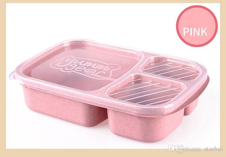뚜껑이있는 3 개의 그리드 도시락 상자 Microwave 음식 과일 보관 상자 용기 용 식기류 세트 가져 오기 재고 있음 WX9-301