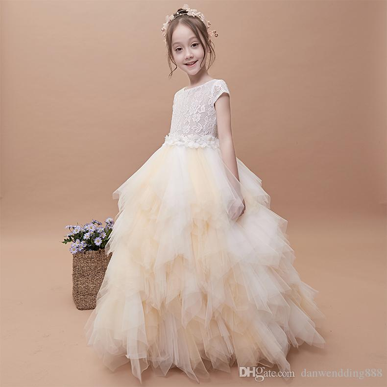 Beauty Beige Tulle/Lace Jewel Flower Girl Dresses Princess Dresses Girl's Pageant Dresses Custom Made Size 2-6 8 10 12 14 KF403314