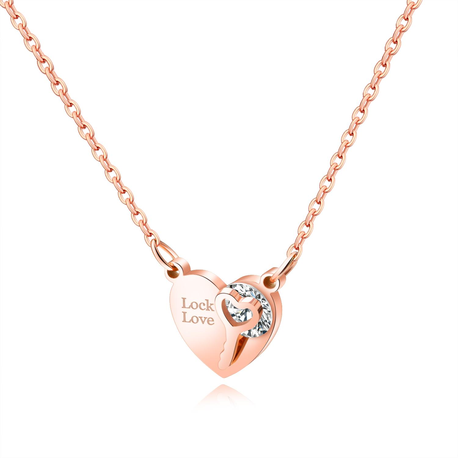 dadc44169e Wholesale Rose Gold Color Love Lock Necklaces For Women Stainless Steel  Heart/Key Chokers Pendants & Necklaces Female Jewelry GX1387 Gold Necklace  Heart ...
