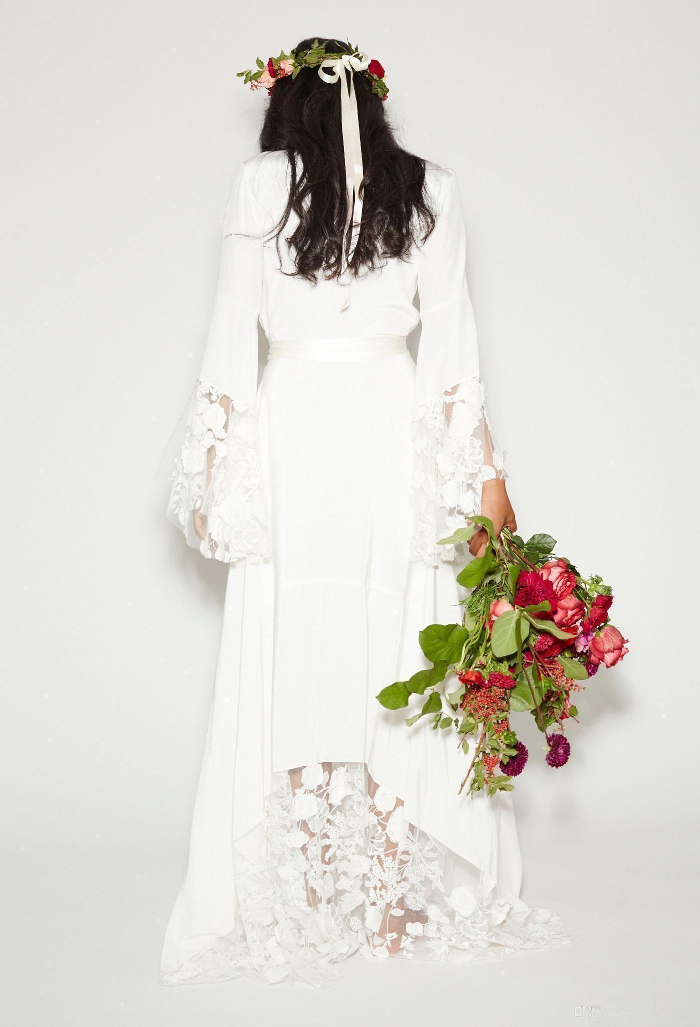 Modest Boho Beach Wedding Dresses Bohemian Long Bell Sleeve A line SexyVneck Lace Flower Bridal Gowns Plus Size Custom made