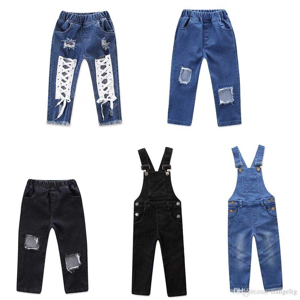 9068fb7913b Baby Girls Ripped Jeans Lace-up Shoelace Bow Patchwork Overall Pants Metal  Buttons Pocket Elastic Trousers Kids 5 Design Denim Jeans 1-6T