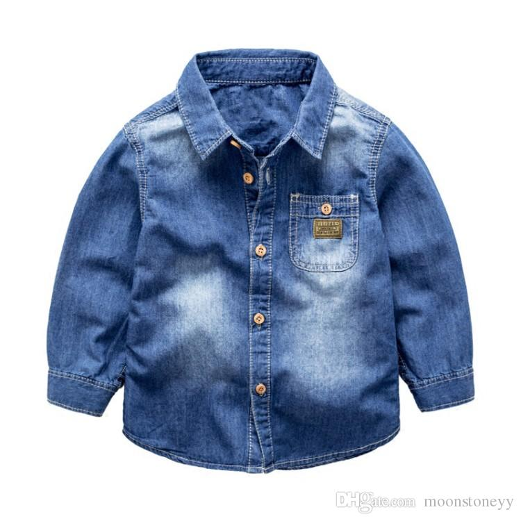 fa841a4a New Spring Autumn Long Sleeve Boys Shirts Blouses Breathable Denim Kids  Children Solid Casual Children Clothing Boy Shirts