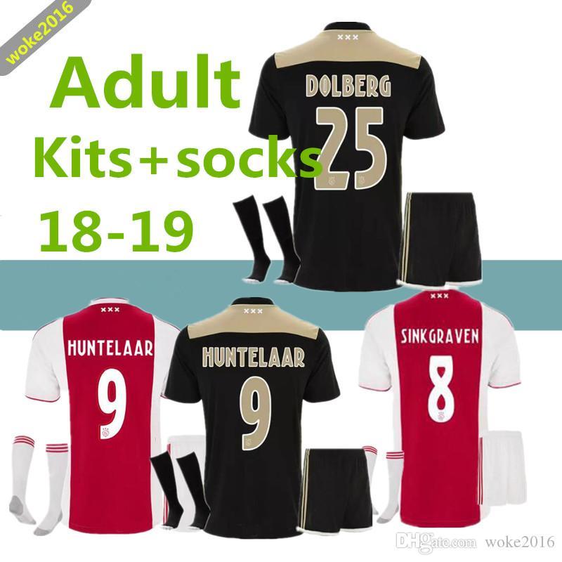 65110d722bc1b Acheter Maillot De Soccer Masculin De Haute Qualité 2018 2019 AJAX 18 18  DOLBERG ZIYECH HUNTELAAR YOUNES MEN TADIC Costume De Football + Chaussettes  ...