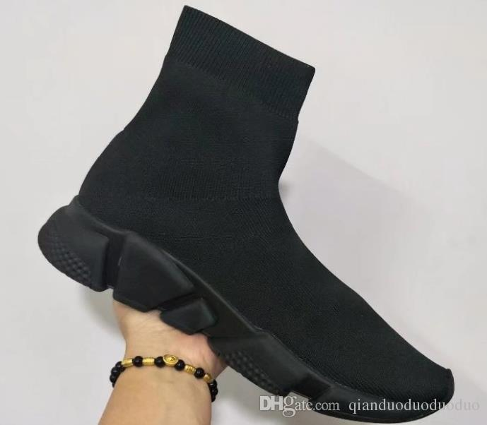 Çift Kutu Hız Eğitmen Çizmeler Çorap Streç-Örgü Yüksek Üst Eğitmen ayakkabı Ucuz Sneaker Siyah Beyaz Kadın Adam Çiftler Ayakkabı Rahat Çizm ...