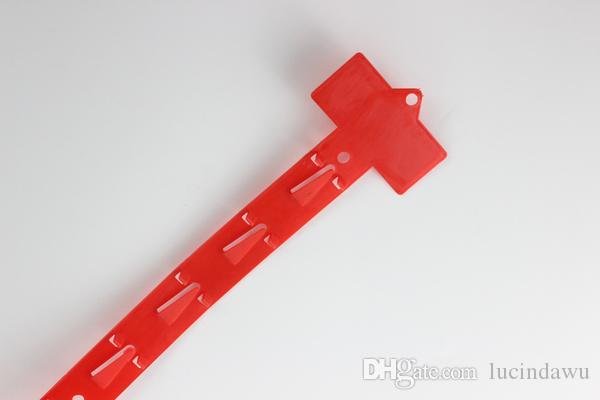 61.5 * 3 cm 500 adet Plastik Kırmızı PP Mal Perakende Asılı Mağazacılık Klip Şerit 12 kanca Askı Şerit Vitrin