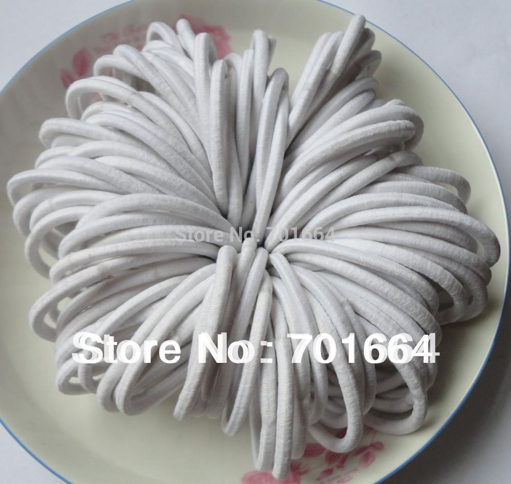 4mm White Elastic Ponytail Holders Hair Bands With Gluing Connection ... 8e6f54ace2d1