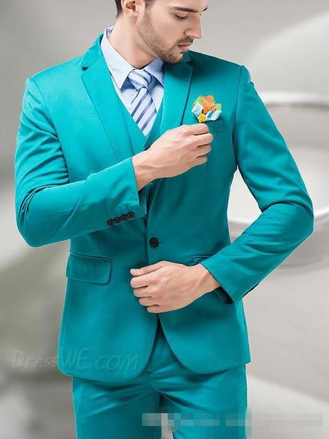 Men\'S Fashion Turquoise Suits Slim Fit Talior Madegroom Prom Tuxedo ...
