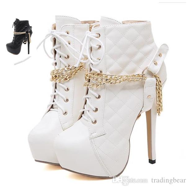 14cm Trendy white black gold chain grid design platform high heels boots women shoes size 35 to 40