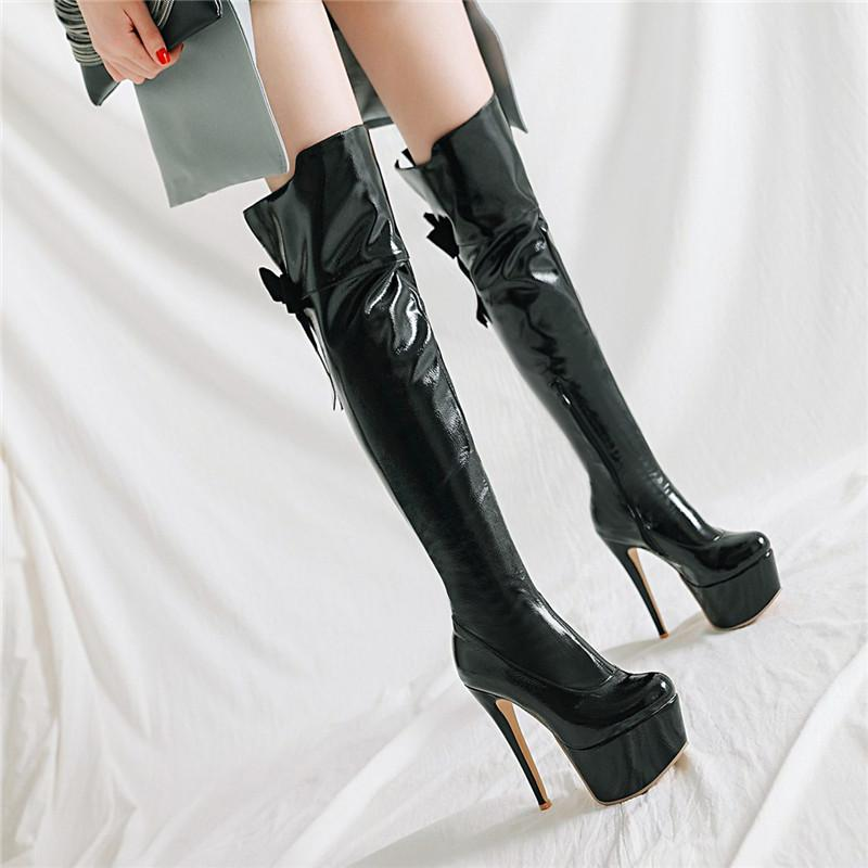 1bb74c8ffa1 YMECHIC Ladies Extra High Heel Platform Gothic Shoes Black Red Patent  Leather Butterfly Knot Overknee Long Party Over Knee Boots Boots Sale Wedge  Boots From ...