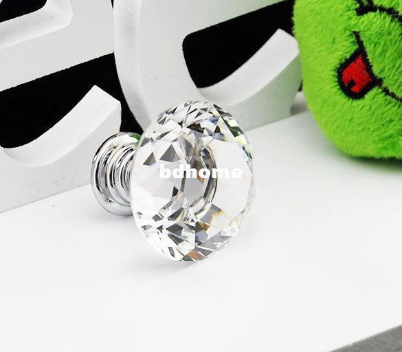 20 pcs/Lot 30mm Diamond Shape Crystal Glass Cabinet Handle Cupboard Drawer Knob Pull Wholesale TK0636
