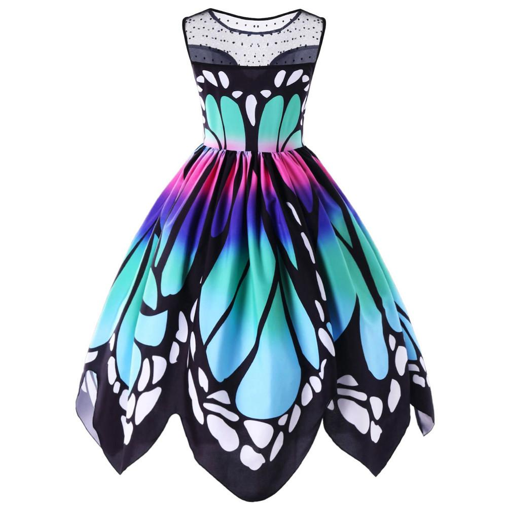 Women's Clothing Fast Deliver Free Ostrich Fashion Dresses Womens Butterfly Printing Sleeveless Party Dress Designer Tops Girl Vintage Swing Lace Dress C3135