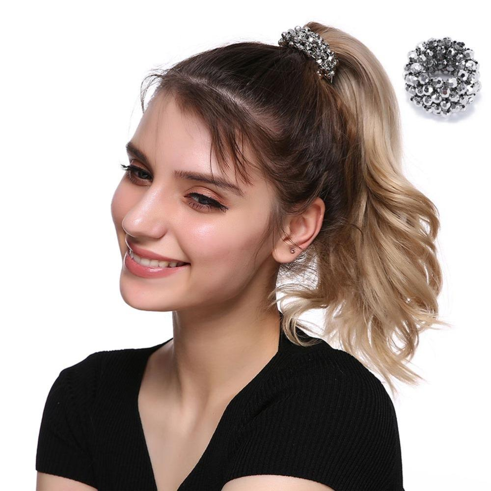 Korean Fashion Thick Solid Pearl Stretch No Damage Elastics Ponytail Holders  Hair Ties For Girls Women Ladies Hair Ring Headband Jewelry Hair Jewelry ... db768e484d3