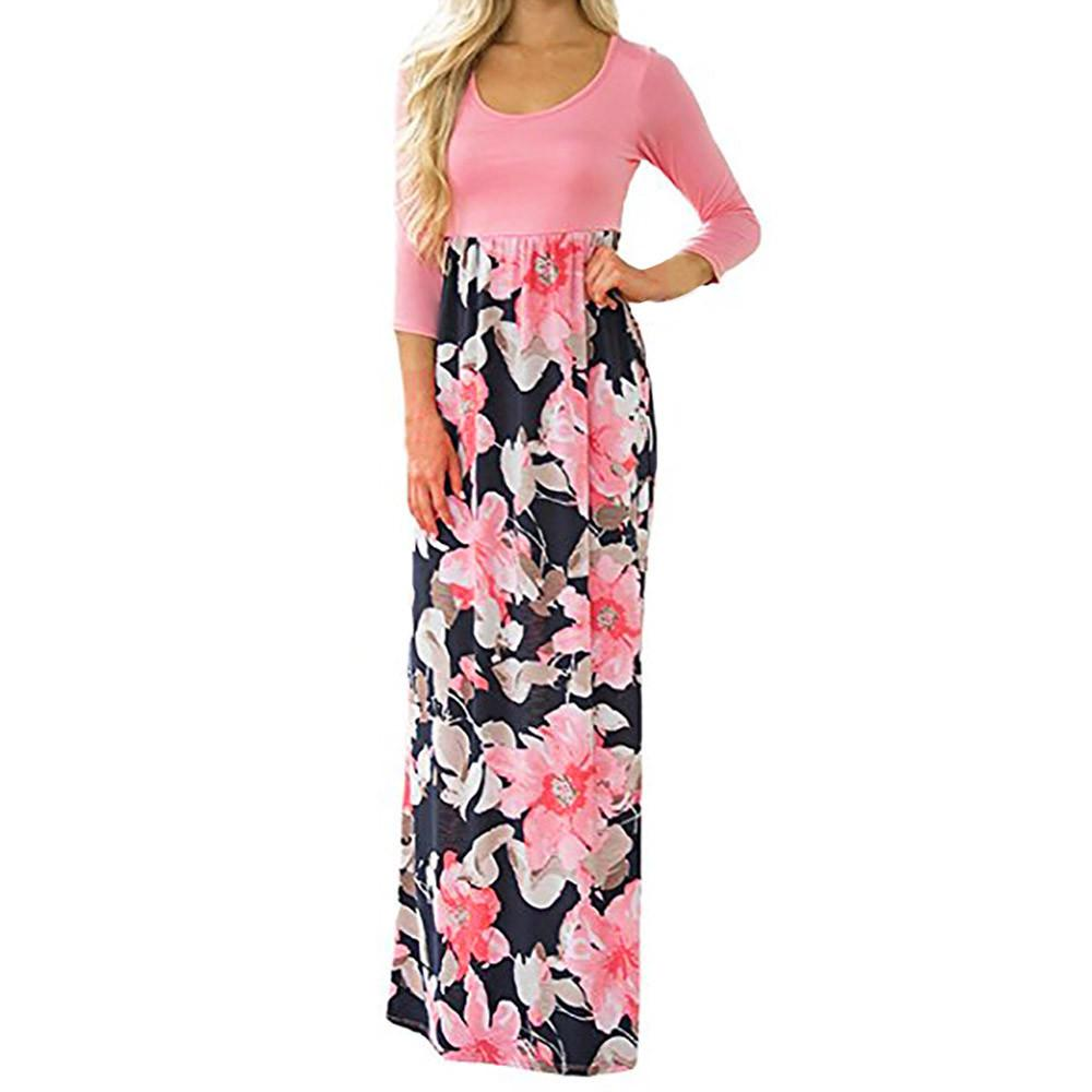 1eed285e890a Boho Long Dress Women Floral Printed Casual Dresses Lady Autumn New O Neck Three  Quarter Sleeve Maxi Dress Tunic #10 Cute Dresses For Special Occasions ...