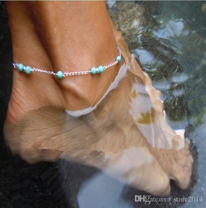 New Turquoise Beads Corrente de Prata Tornozeleira Moda Verão Praia Anklet Manual Tornozelo Pulseira Pé Jóias frete grátis