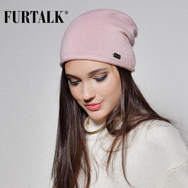 FURTALK 100% Wool Cashmere Autumn Winter Women Hat Knit Skullies Beanies  Hats For Girls Female Slouchy Beanie Skull Cap From Lantana b1080df1fe6