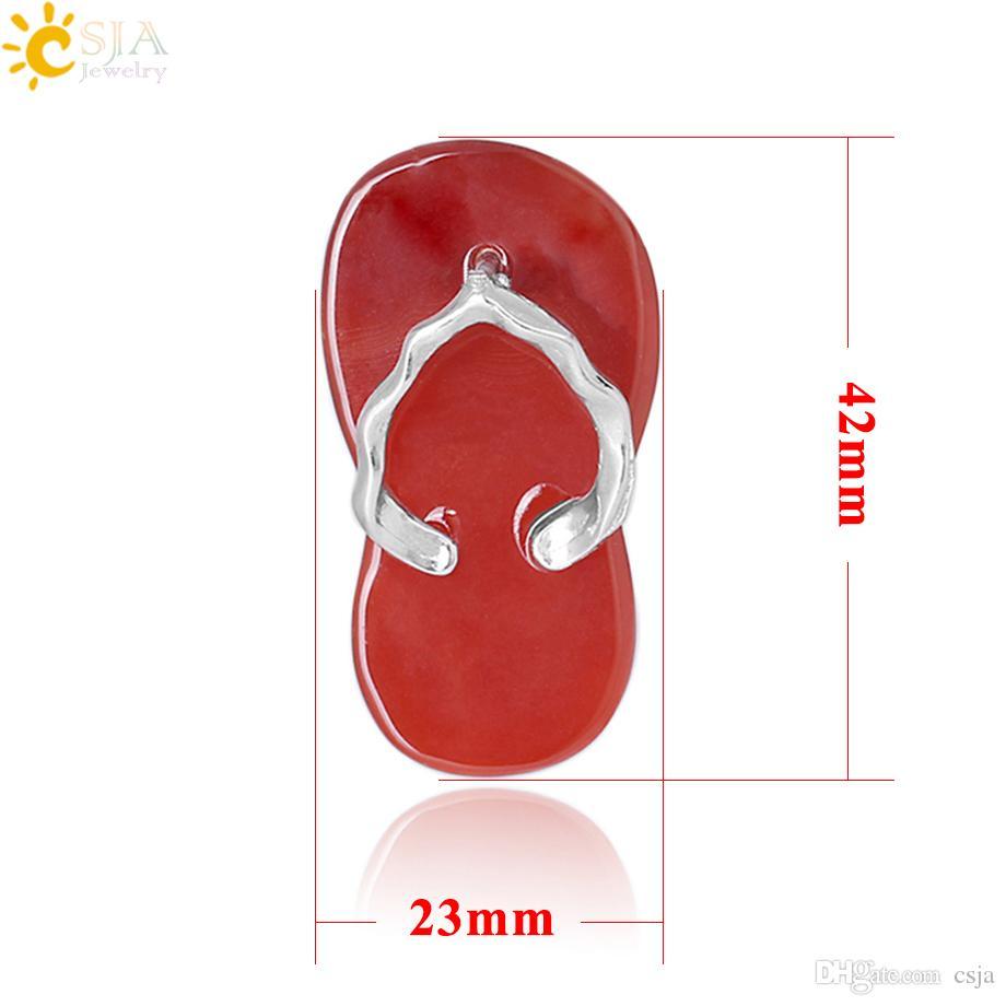 CSJA Women Slipper Shoe Pendant Natural Stone Tiger Eye Red Agate Aventurine Crystal Quartz Summer Sandals Pendants Jewelry for Girl F332 A