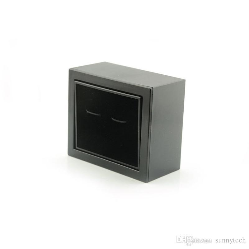 Elegant Plastic Cufflinks Box Black Flip Rectangle Cuff-Link Storage Case Display Jewelry Packaging Box for Mens Gift ZA5723