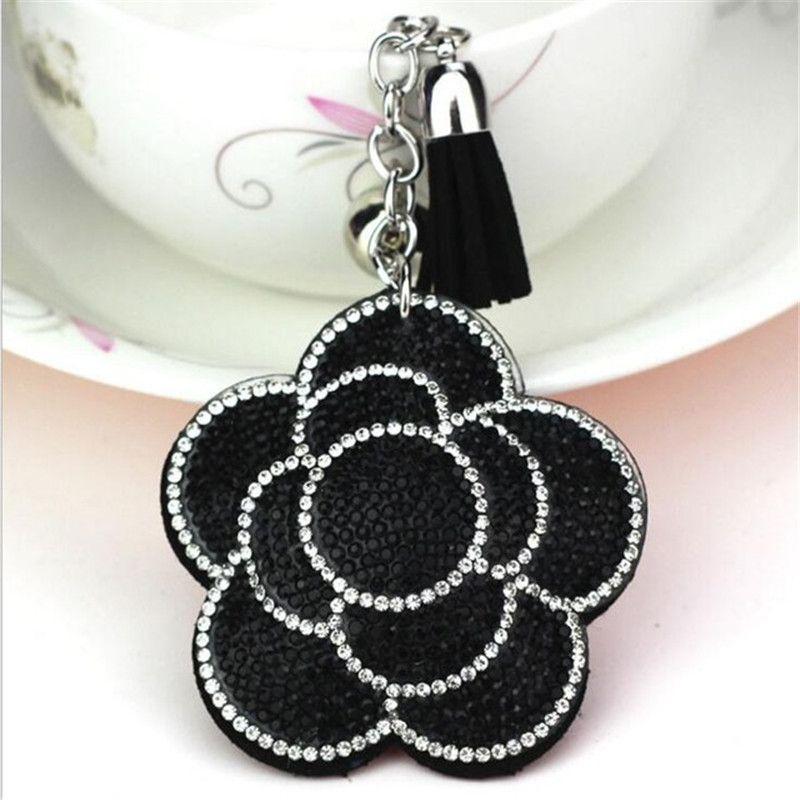 Valentine s Day Flower Keychain Tassel Leather Crystal Trinket Key Chain  For Holder Purse Car Bag Pendant Handbag Ring Keychain Leather Keychain  Lanyard ... f7fee7fa574d