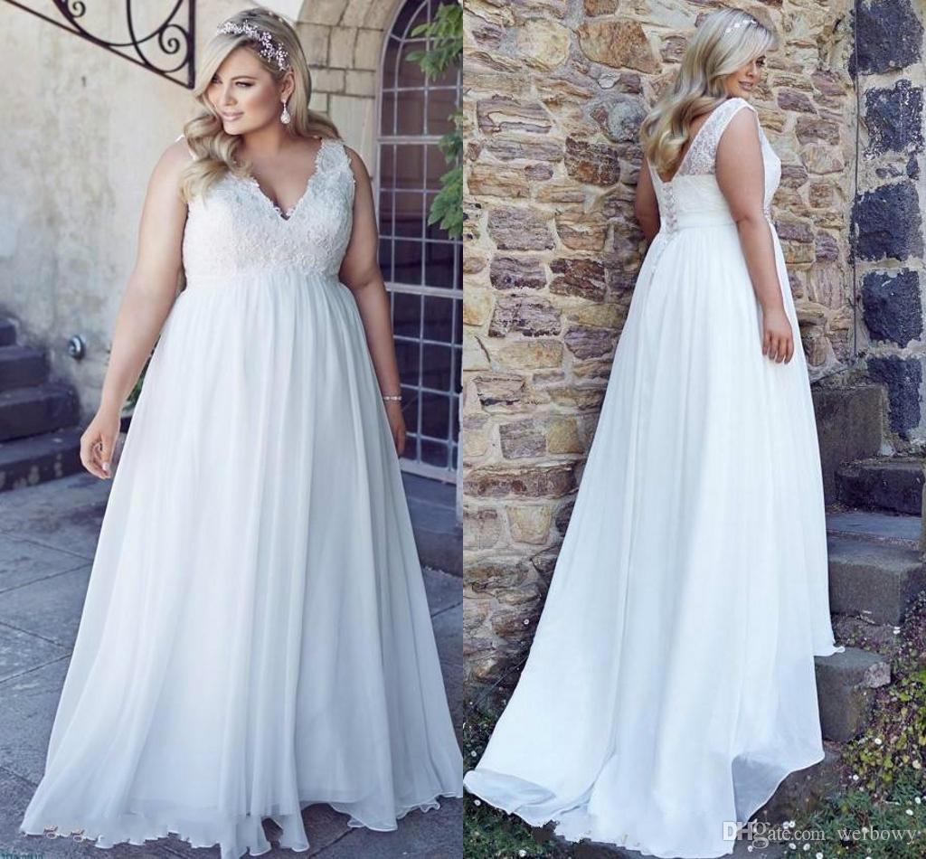 3de7f2289cf Discount Romantic V Neck Plus Size Lace Wedding Dresses Garden Cheap Chiffon  Spring Train Large Vestido De Noiva Bridal Gowns Ball For Bride Wedding  Dress ...