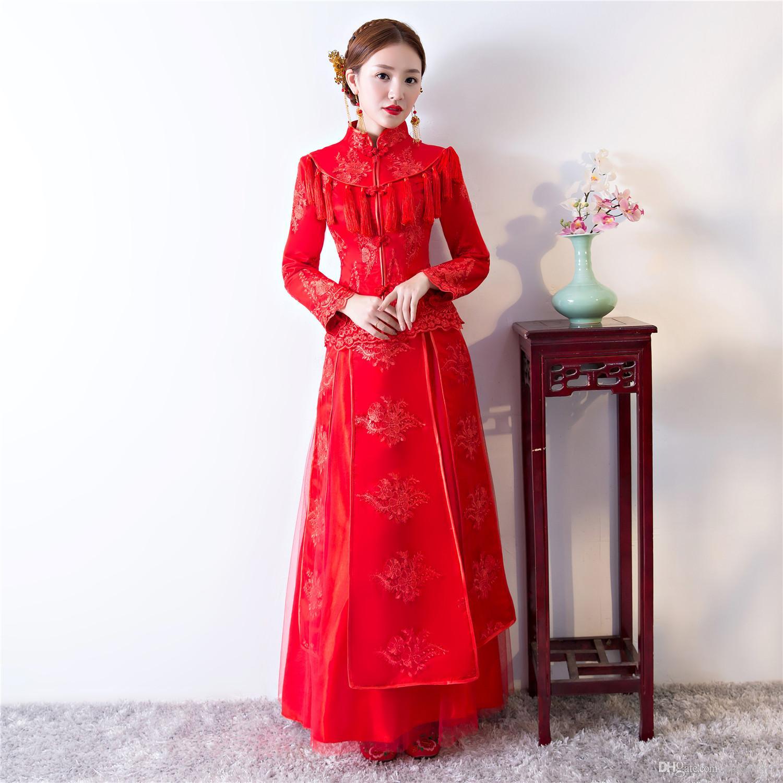 90174acf51e0 Acquista Shanghai Storia Manica Lunga Pizzo Cheongsam Abiti Da Sposa Cinese  Rosso Qipao Cinese Tradizionale Abbigliamento Top + Set Completo Gonna A   49.25 ...