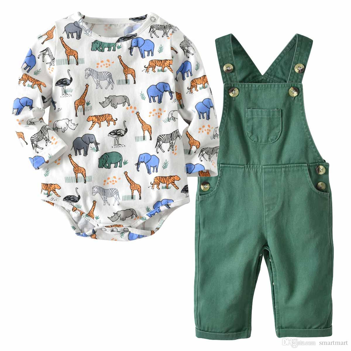 a8c13188b04 Everweekend Cute Baby Boys Girls Animals Cartoon Rompers with ...