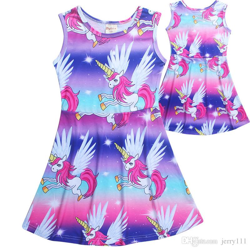1d7ee91ee552 2019 INS Summer Unicorn Dresses Kids Rainbow Unicorn Cotton Casual Dress  Party Princess Nightgown Dress Children Clothing 4 10Y LC720 1 From  Jerry111, ...