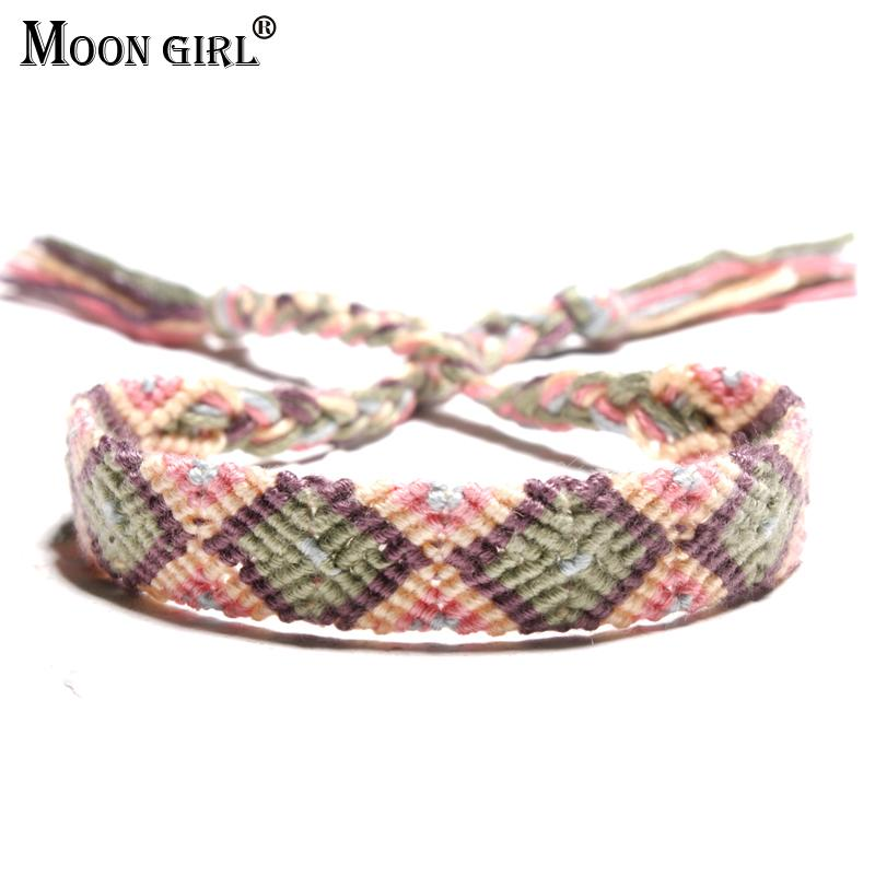 MOON GIRL Brazil Boho Hand Weave Braided Bracelets for Women Bohemian Vintage Cotton Rope Cheap Ethnic Charm Bracelets Jewelry