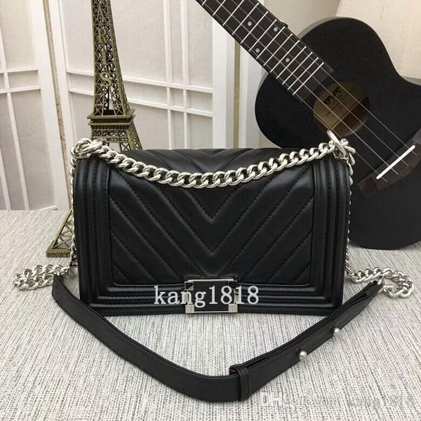 561042eb3563 Hot Sale New Style Large V Type 25cm Good Quality Leather Fashion Casual  Womens Handbags Totes Le Boy Flaps Silver Chain Shoulder Bags Cheap Purses  Handbags ...