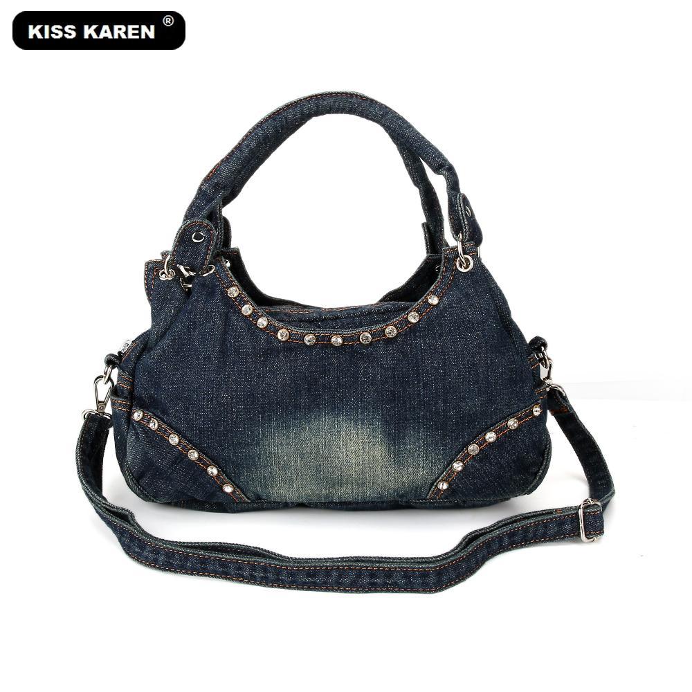 b093ab080057 KISS KAREN Fashion Women Hobos Diamond Rivet Denim Bag Female Handbags  Jeans Women S Shoulder Bags Casual Tote Messenger Bags Designer Bags Ladies  Handbags ...