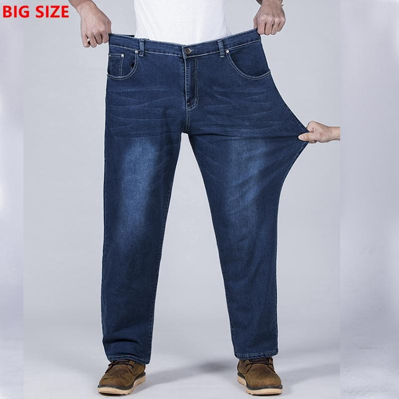 801cc7e7e3669 2019 Autumn Large Size Men S Fattening Increase Blue Stretch Loose Jeans Fat  Young Big Guy Pants Black Pants From Dayup