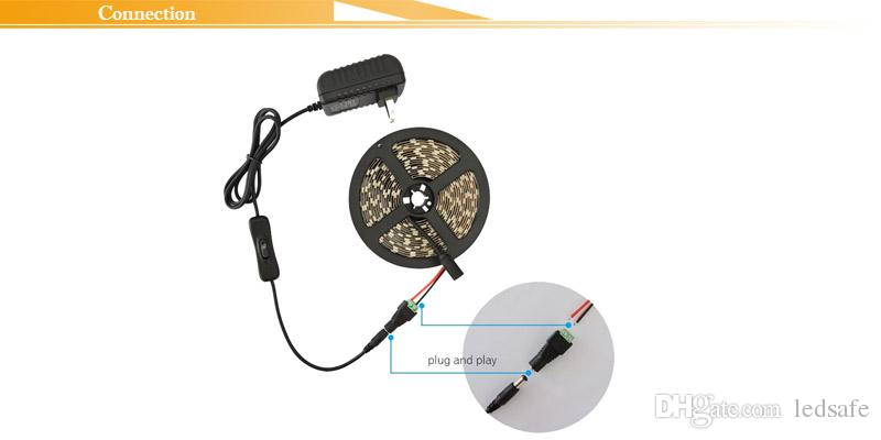 Plant Grow Lights LED Strip Full Spectrum Flower Phyto Lamp 5m Waterproof IP65 Red Blue 5:1 4:1 for Greenhouse Hydroponic + Power adapter