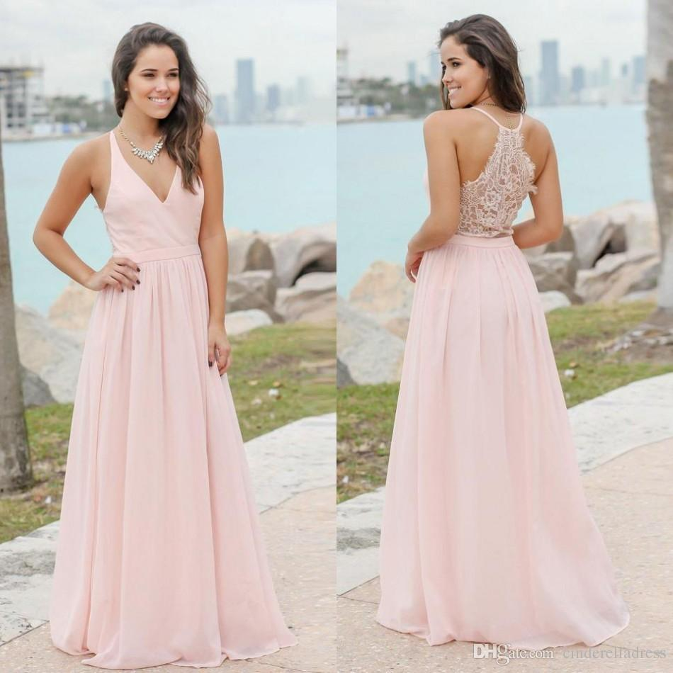 fec79ae931d Summer Bohemian Baby Pink Bridesmaids Dresses 2019 Sexy V Neck Applique  Chiffon Long Wedding Guest Gowns Cheap BM0152 Young Bridesmaid Dresses Baby  Pink ...