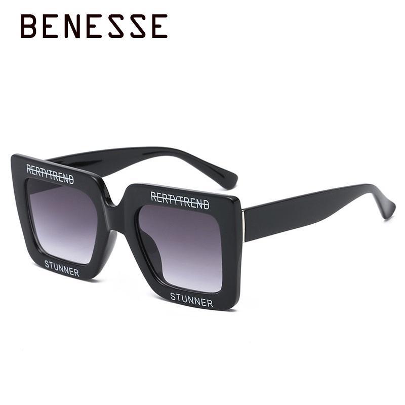 2404103bf8 Vintage Women Letter Square Sunglasses Retro Trendy Oversized Frame Colorful  Shades High Quality Men Fashion Sun Glasses UV400 Cat Eye Sunglasses Round  ...