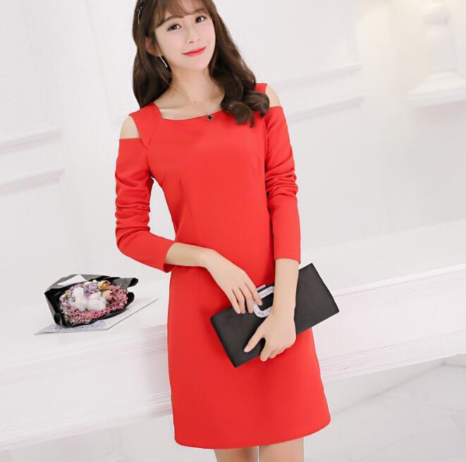 b51b3d95401 Primavera otoño vestido ropa de mujer patchwork vestidos ajustados muestran  delgado Dew hombro vestido de manga larga lindo vestido rojo negro