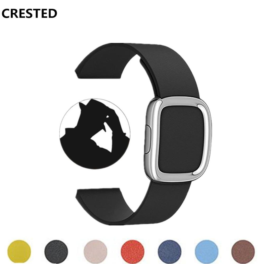 CRESTED Modern buckle  bandstrap 42mm/38mm iwatch series 3/2/1 Leather wrist bands straps bracelet watchband belt