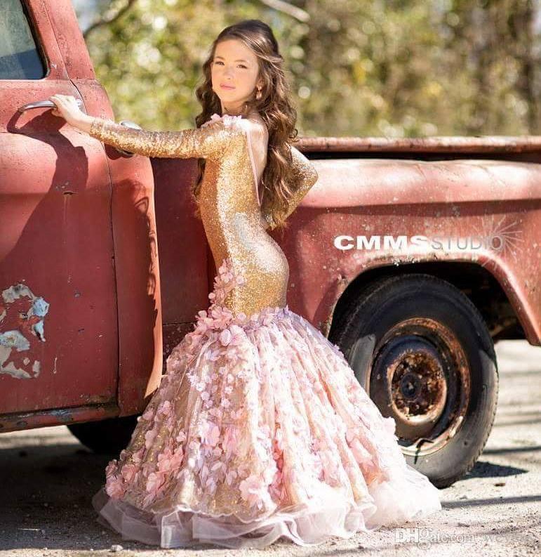 Lovely Gold Mermaid Flower Girl Dresses For Weddings Long Sleeves Sequined Little Girls Pageant Dress Appliqued Backless Communion Gowns